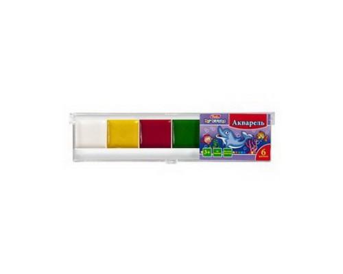 Краски акварельные 6 цветов медые Hatber Дельфины (без кисти)