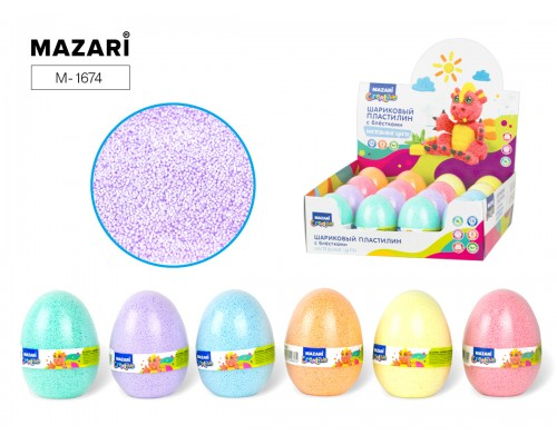 Пластилин шариковый мелкозернистый пастельные цвета с блестками в яйце (150 мл),