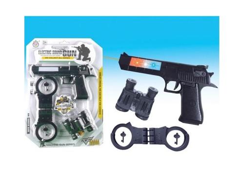 Набор игровой пистолет на бат., наручники,бинокль HY071.
